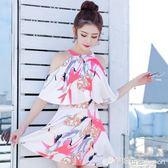 小清新裙式連身泳衣女保守遮肚性感顯瘦大小胸聚攏學生韓國泳裝女 檸檬衣捨