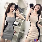 貝貝居 性感夜店女裝修身顯瘦拼色包臀緊身無袖吊帶連身裙春裝