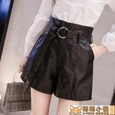皮短褲女新款時尚秋冬氣質a字高腰外穿闊腿褲配靴子的短褲 交換禮物