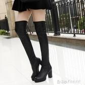 秋冬季新款女士膝上靴超高跟鞋長筒皮靴粗跟高筒馬靴子加絨 檸檬衣舎