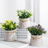仿真創意綠植假花盆景植物擺設室內家居客廳盆栽花藝小裝飾品擺件  igo 卡布奇諾