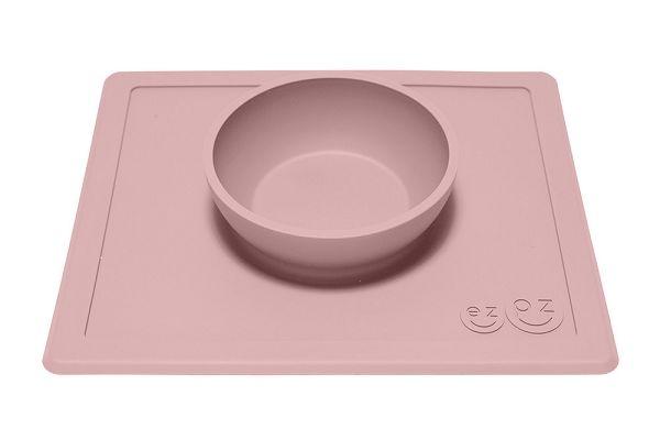 美國 EZPZ HAPPY BOWL快樂防滑餐碗/餐具/安全/無毒/矽膠 玫瑰粉