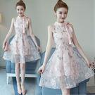 VK精品服飾 中國風小清新復古時尚甜美立領蝴蝶結無袖洋裝