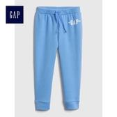 Gap女嬰幼童 Logo鬆緊腰抽繩舒適運動褲 497544-摩爾藍色