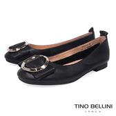 Tino Bellini 雅緻環飾真皮平底娃娃鞋_ 黑 B83261