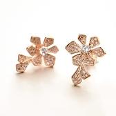 耳環 玫瑰金 925純銀鑲鑽-氣質花朵生日情人節禮物女飾品2色73gs235【時尚巴黎】