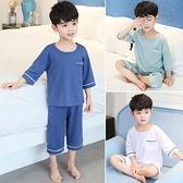 兒童睡衣 莫代爾兒童睡衣夏季薄款男童家居服套裝大童夏天小男孩短袖空調服 檸檬衣舍1
