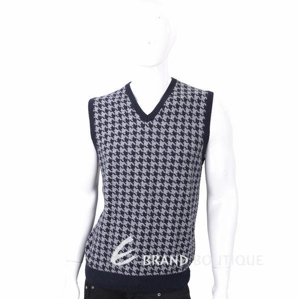 TRUSSARDI 喀什米爾灰藍拼色千鳥格針織羊毛背心 1710689-34
