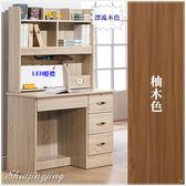 【水晶晶家具/傢俱首選】CX9677-13 蒂芬妮3呎漂流木色四抽雙層書桌~~雙色可選~~附LED燈