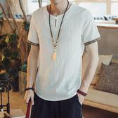 唐裝 中國風夏季薄款寬鬆民族風仿亞麻短袖T恤男中式上衣唐裝休閒半袖 薇薇