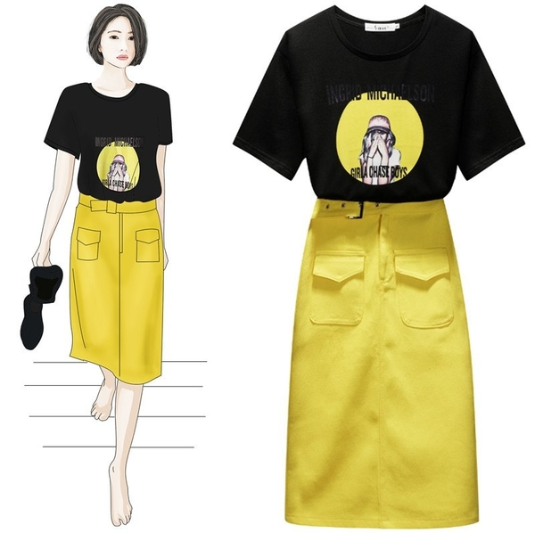 VK旗艦店 韓系時尚顯瘦人物圖騰印花套裝短袖裙裝