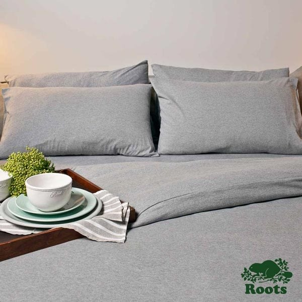 Roots Home - 有機棉雙人加大床包 - 灰色