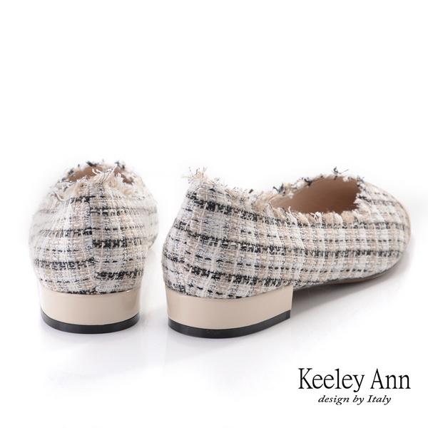 2019秋冬_Keeley Ann我的日常生活 格紋虛邊低跟包鞋(杏色) -Ann系列