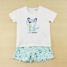 【愛的世界】純棉圓領小花豹短袖套裝/6個月~3歲-台灣製-  ---幼服推薦