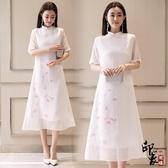 漢服古裝復古文藝中國民族風茶服女白色仙中式飄逸禪意棉麻連身裙 降價兩天