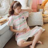 孕婦睡衣夏季月子服薄款產后喂奶哺乳短袖夏天純棉產婦家居服zt481 『美好時光』