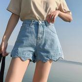高腰牛仔超短褲女夏2018新款韓版寬鬆學生不規則a字百搭 DN8917【野之旅】