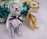 金屬皮革蕾絲花熊  婚禮小物【皇家結婚用品】