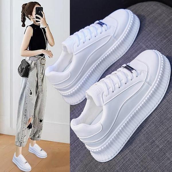 餅干小白鞋女2021年春季厚底百搭鞋子春秋新款白鞋夏鬆糕春款女鞋 韓國時尚週 免運