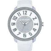 Tendence 天勢表 Glam 47 施華洛世奇水鑽立體刻度手錶-白/47mm TY430142
