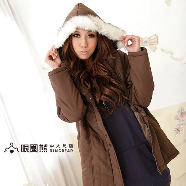 鋪棉連帽外套-素面毛邊連帽鋪棉大衣/外套(黑.咖.紫M-2L)-J45眼圈熊中大尺碼