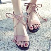 現貨出清 綁帶涼鞋涼鞋女鞋仙女風學生百搭新款夏季平底羅馬時尚交叉綁帶簡約   5-10