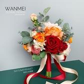 新橘色紅色搭配手捧花花球新娘結婚攝影仿真假花道具家居客廳裝飾 幸福第一站