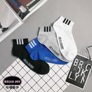 【正韓直送】三直條半織網加大短襪 透氣設計 韓國襪子 型男船型襪 素色加大襪 哈囉喬伊M41