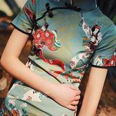 新款日常少女改良旗袍女夏洋裝短款仕女印花短袖純棉 〖korea時尚記〗