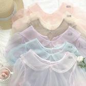 蕾絲上衣 lolita內搭娃娃領泡泡袖蕾絲內搭網紗上衣洋氣少女透明打底衫內搭 寶貝計書