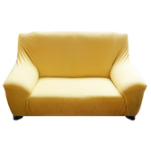 HOLA 素色彈性二人沙發套 麥黃