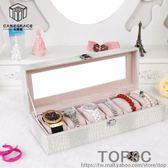 高檔手錶盒子 歐式皮革佛珠手飾收納盒 透明玻璃展示首飾盒帶鎖「Top3c」