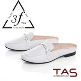 TAS壓紋牛皮一字金屬鍊穆勒鞋-氣質白