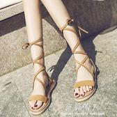 交叉綁帶羅馬鞋夏季新款復古流蘇草編系帶防滑平底舒適露趾女涼鞋  完美情人精品館