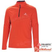 Wildland 荒野 P1608-13橘紅 男POLARTEC立領長袖上衣 POLO衫/吸濕排汗/快乾彈性/機能衣/團體服*