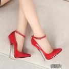 大碼高跟鞋高跟鞋偽娘變裝反串腕帶情趣單鞋SM40-44碼 街頭布衣