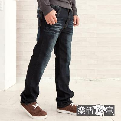 【7214】壓紋斜條刷色伸縮中直筒牛仔褲● 樂活衣庫