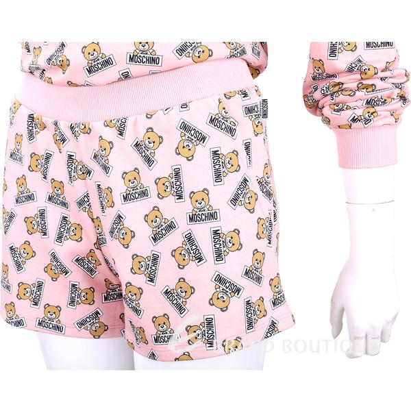 MOSCHINO Underwear 滿版熊熊粉色棉質休閒短褲套裝 1930403-05