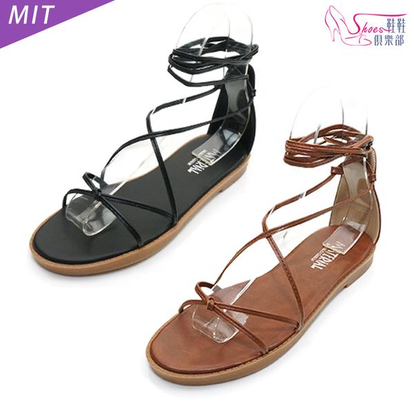 涼鞋.MIT細繩繞踝平底羅馬涼鞋.黑/棕【鞋鞋俱樂部】【028-6377】