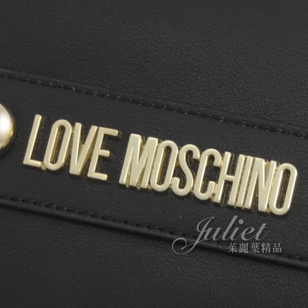 茱麗葉精品【全新現貨】MOSCHINO LOVE MOSCHINO 金屬LOGO絲巾造型單肩包.黑