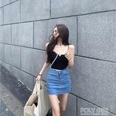 窄裙 彈力緊身裙子超高腰包臀牛仔小短裙女夏季2021新款黑色a字半身裙 喜迎新春