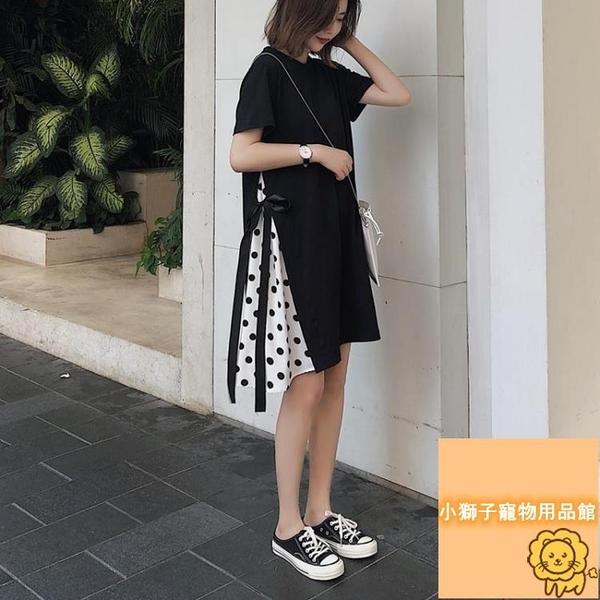顯瘦拼接t恤裙大碼假兩件連衣裙女寬松裙子夏季連衣裙女【小狮子】