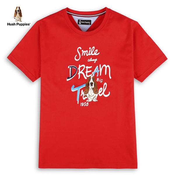 Hush Puppies T恤 男裝字母繡線印花刺繡狗短袖T恤