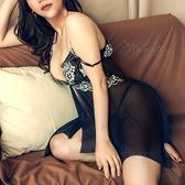 XL-6L 加大尺碼睡衣【煙燻棕梠】蕾絲網紗前扣式不規則裙襬兩件組睡衣(藍色) MyDoll
