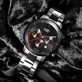 ALBA / VD53-X313SD.AT3E01X1 / 雅痞時尚 藍寶石水晶玻璃 三眼計時 日期 不鏽鋼手錶 鍍黑 42mm