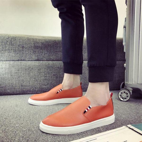 男士休閒懶人韓版板鞋英倫百搭小白皮鞋一腳蹬豆豆鞋男 黛尼時尚精品