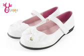 KING CHILDED 女童娃娃鞋 花童 真皮蝴蝶結小皮鞋C2395#白色◆OSOME奧森童鞋