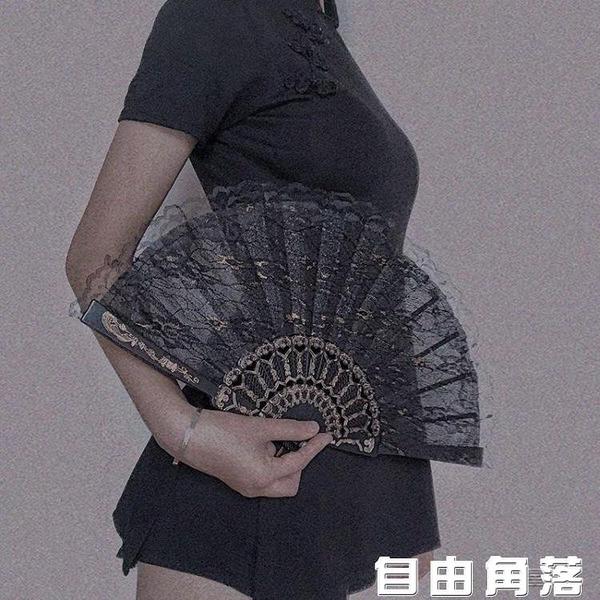 扇子 擺拍道具復古風日式和風蕾絲旗袍扇子 自由角落