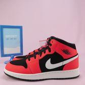 【iSport愛運動】NIKE AIR JORDAN 1 MID 籃球鞋 正品 554725061 大童 黑x螢光橘