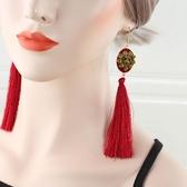 金色玫瑰花愛心紅色流蘇耳環耳掛韓國氣質長款過肩耳墜復古耳飾品